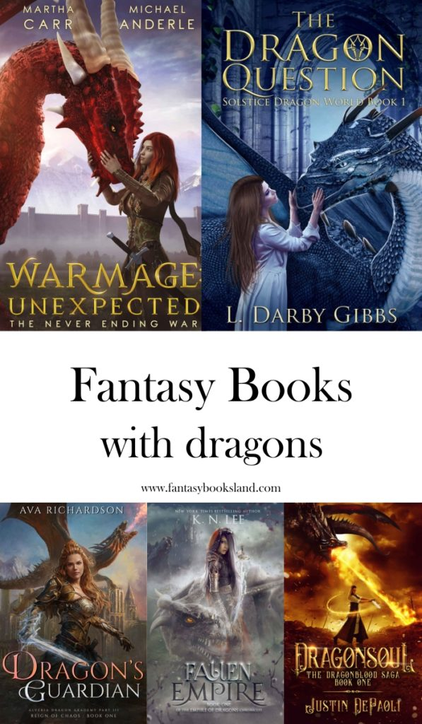 Five Fantasy Books with dragons - covers